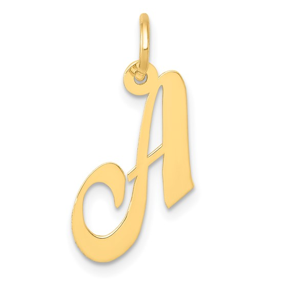 14kt Yellow Gold 5/8in Fancy Script Initial A Charm