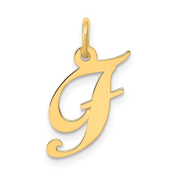 14kt Yellow Gold 5/8in Fancy Script Initial F Charm