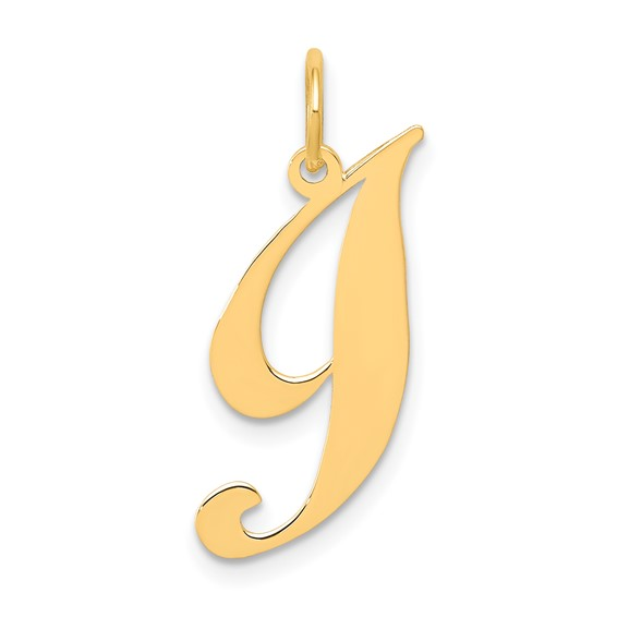 14kt Yellow Gold 5/8in Fancy Script Initial I Charm