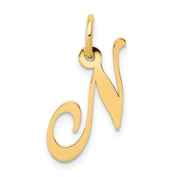 14kt Yellow Gold 5/8in Fancy Script Initial N Charm
