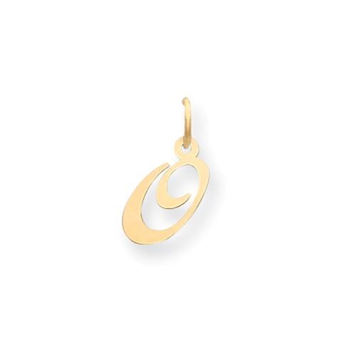 14kt Yellow Gold 5/8in Fancy Script Initial O Charm