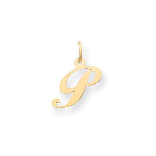 14kt Yellow Gold 5/8in Fancy Script Initial P Charm
