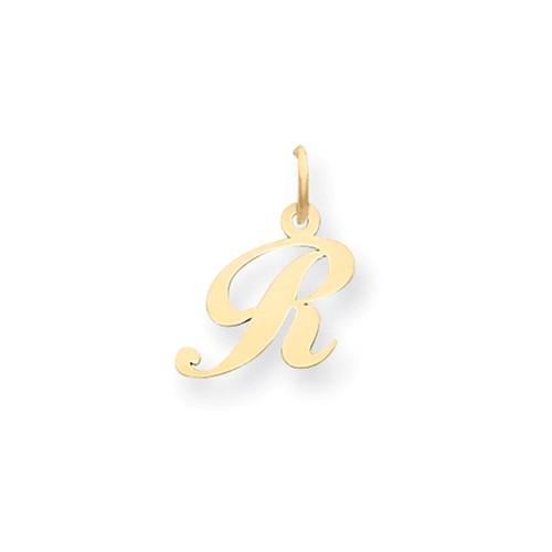 14kt Yellow Gold 5/8in Fancy Script Initial R Charm