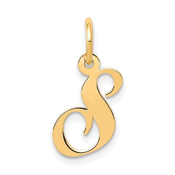 14kt Yellow Gold 5/8in Fancy Script Initial S Charm