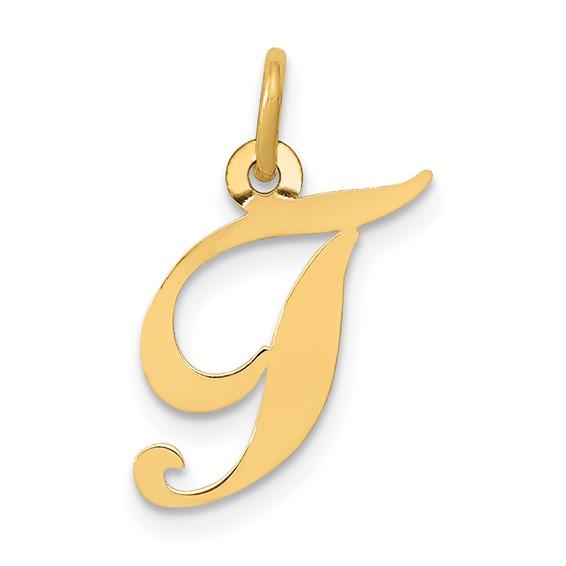 14kt Yellow Gold 5/8in Fancy Script Initial T Charm