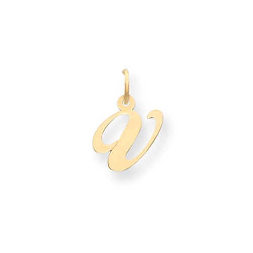 14kt Yellow Gold 5/8in Fancy Script Initial V Charm
