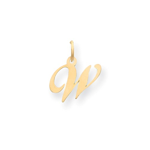 14kt Yellow Gold 5/8in Fancy Script Initial W Charm