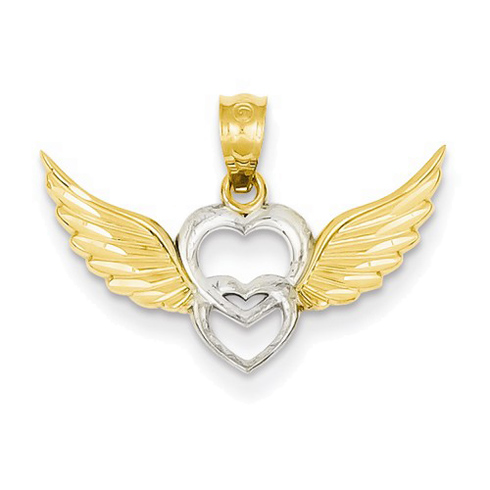 14kt Two-tone Gold 3/4in Heart and Wings Pendant