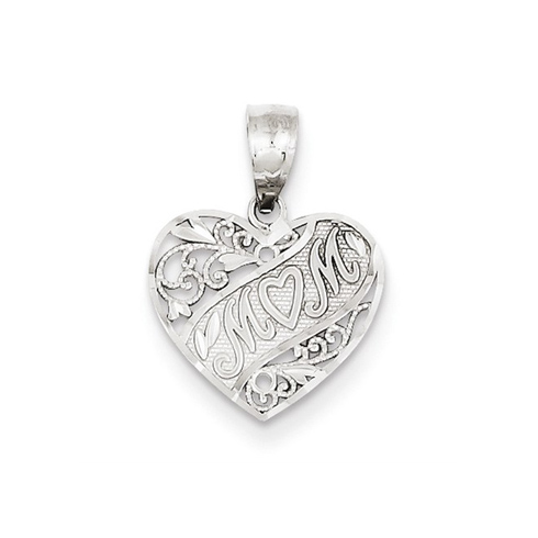 14kt White Gold 1/2in Heart Shaped Mom Charm