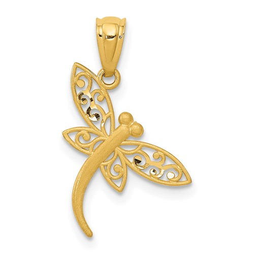 14kt Yellow Gold 5/8in Diamond-cut Dragonfly Charm