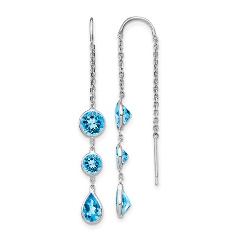 14kt White Gold Pear and Round Blue Topaz Threader Earrings