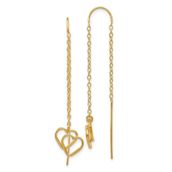 14kt Yellow Gold Double Heart Threader Earrings
