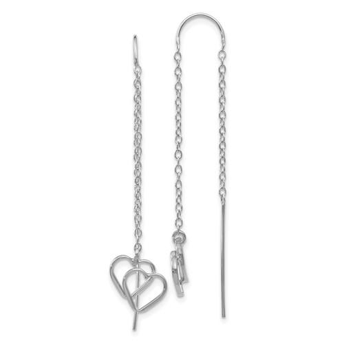 14kt White Gold Double Heart Threader Earrings