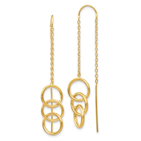 14kt Yellow Gold Circle Trio Threader Earrings