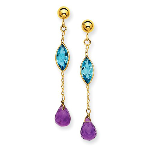 14kt Yellow Gold Amethyst and Blue Topaz Dangle Chain Earrings