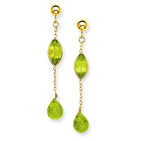 14kt Yellow Gold Marquise and Briolette Peridot Dangle Chain Earrings
