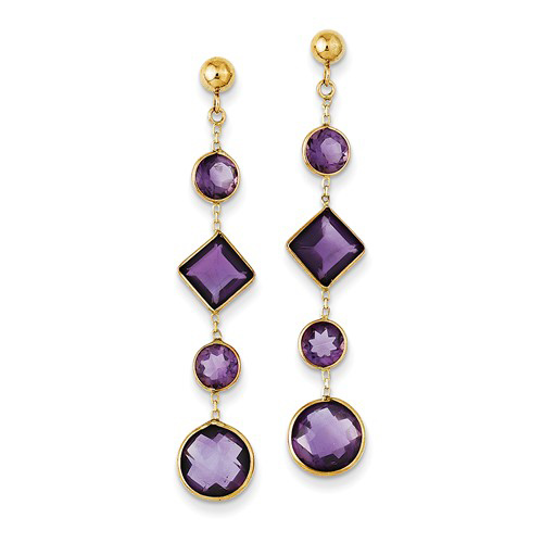 14kt Yellow Gold Round and Square Amethyst Drop Earrings