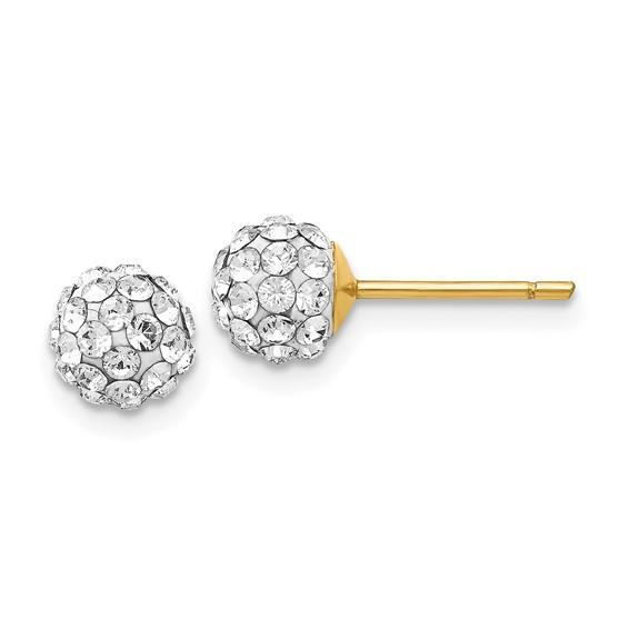 14kt White Gold 6mm Swarovski Elements Cluster Earrings