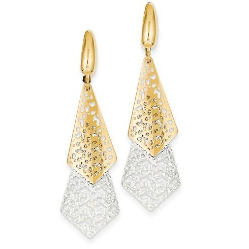 14kt Two-tone Gold 1 7/8in Italian Long Triangle Leverback Earrings