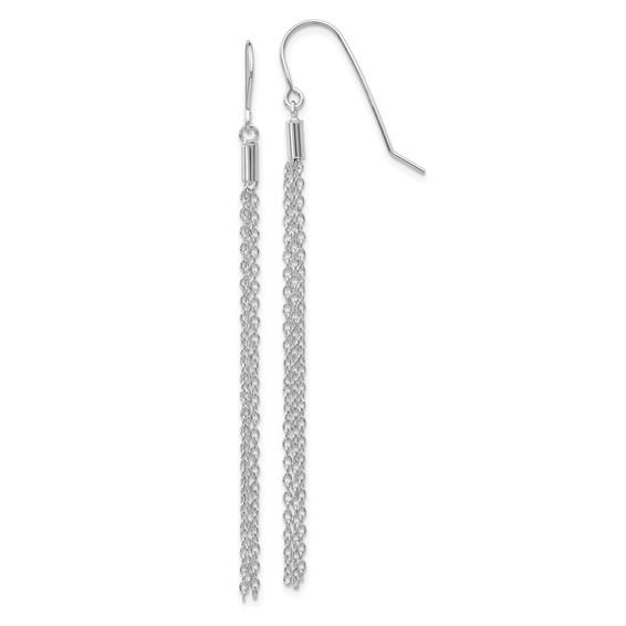 14kt White Gold 2in Diamond-cut Chain Wire Dangle Earrings