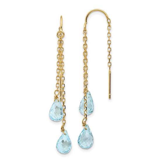 14kt Yellow Gold Pear Blue Topaz Threader Earrings