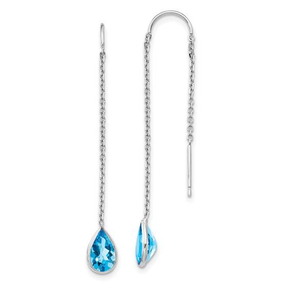 14kt White Gold Pear Blue Topaz Bezel Threader Earrings