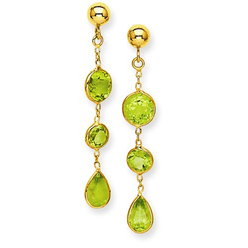 14kt Yellow Gold Round and Pear Peridot Dangle Bezel Earrings