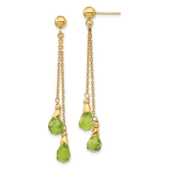 14kt Yellow Gold Briolette Peridot Dangle Chain Earrings