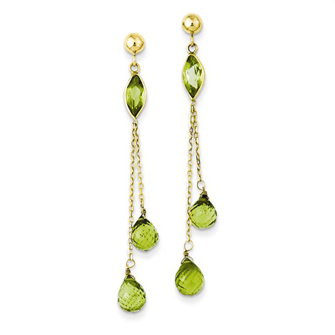 14kt Yellow Gold Marquise and Briolette Peridot Dangle Earrings