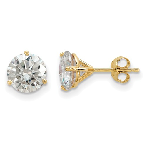 3 ct Moissanite 3-Prong Martini Stud Earrings 14k Yellow Gold