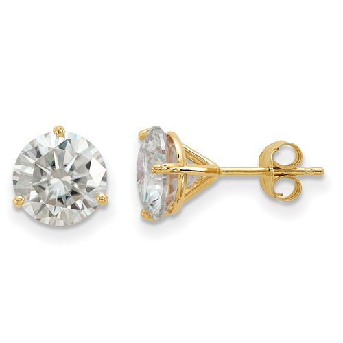 4 ct Moissanite 3-Prong Martini Stud Earrings 14k Yellow Gold