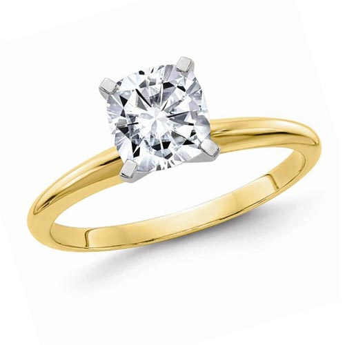 14k Yellow Gold 1.1 ct Pure Light Moissanite Cushion Solitaire Ring