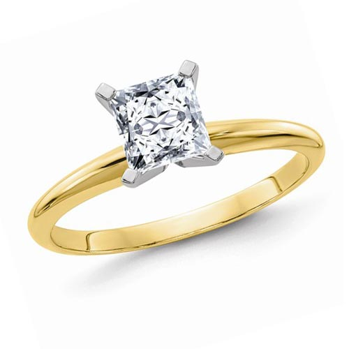 14k Yellow Gold 1.3 ct Pure Light Moissanite Square Solitaire Ring