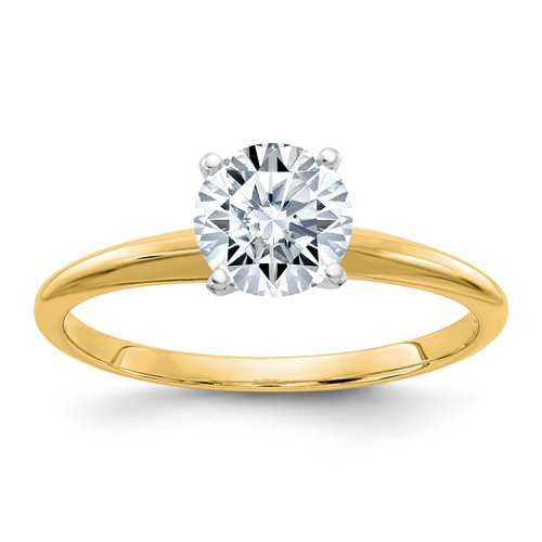 1.5 ct Pure Light Moissanite Solitaire Ring 4-Prong 14k Yellow Gold