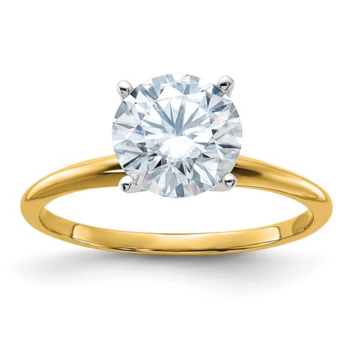 3.5 ct Pure Light Moissanite Solitaire Ring 4-Prong 14k Yellow Gold