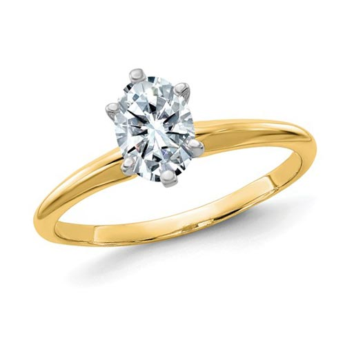 14k Yellow Gold 0.9 ct Pure Light Moissanite Oval Solitaire Ring