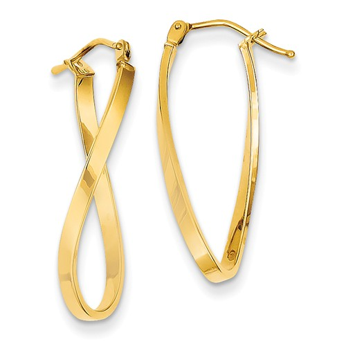 14kt Yellow Gold 1in Italian Hollow Twisted Earrings