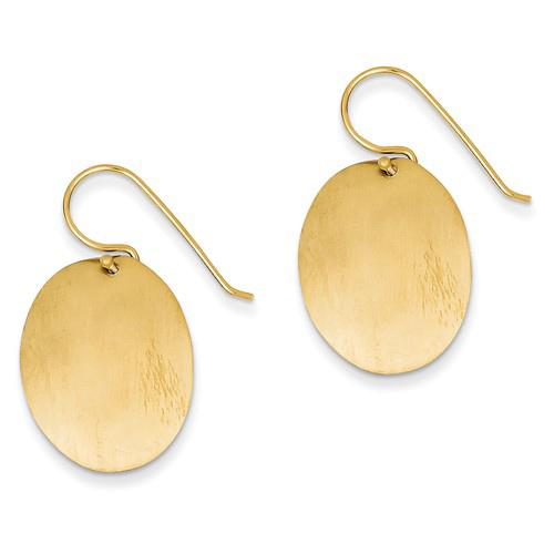 14kt Yellow Gold 1 1/4in Satin Oval Dangle Earrings