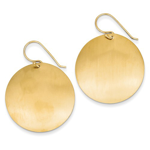 14kt Yellow Gold 1 1/2in Satin Circle Dangle Earrings