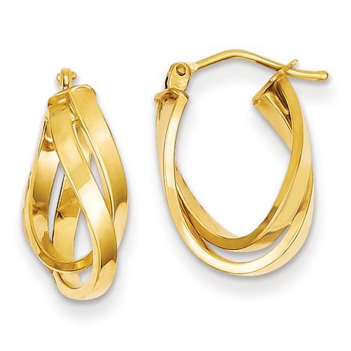 14kt Yellow Gold 3/4in Italian Double Interwined Hoop Earrings