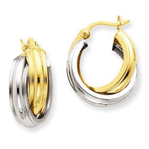 14kt Two-tone Gold 3/4in Hinged Double Hoop Earrings 8mm