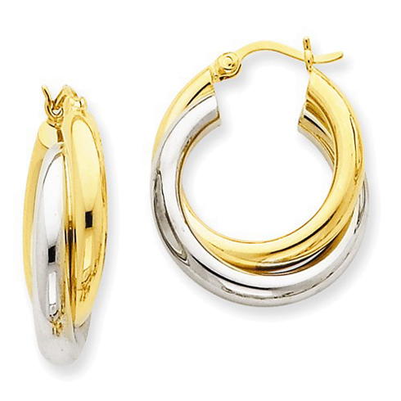 14kt Two-tone Gold 7/8in Hinged Double Hoop Earrings 7mm