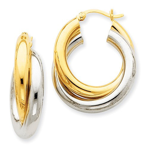 14kt Two-tone Gold 1in Hinged Double Hoop Earrings 8mm