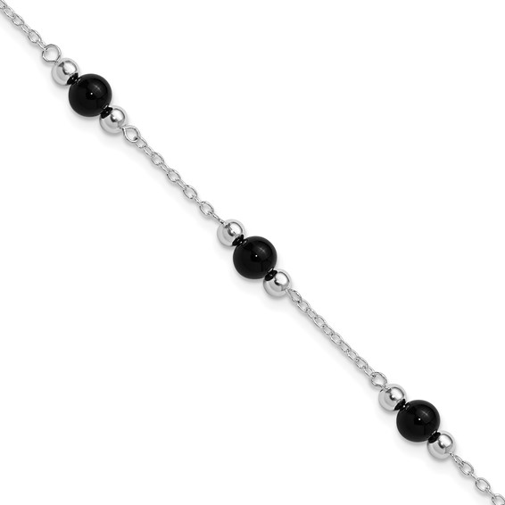 Sterling Silver 9in Polished Onyx Anklet
