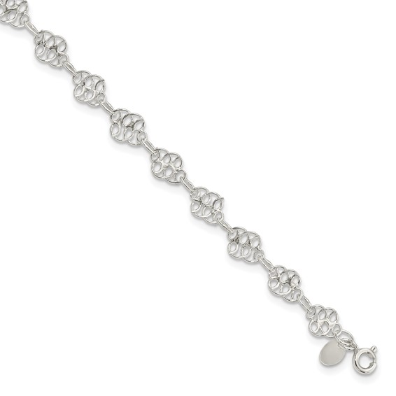 10in Fancy Polished Anklet - Sterling Silver