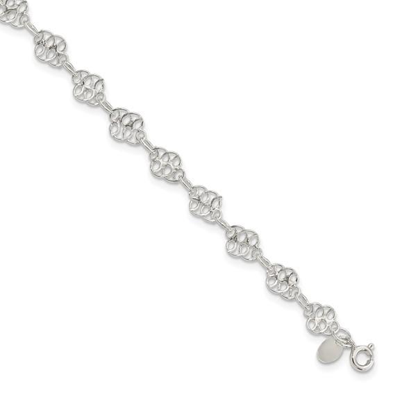 9in Fancy Polished Anklet - Sterling Silver