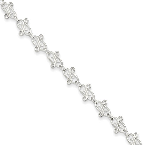 Sterling Silver Fancy Link Anklet 9in