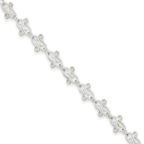 Sterling Silver Fancy Link Anklet 9in