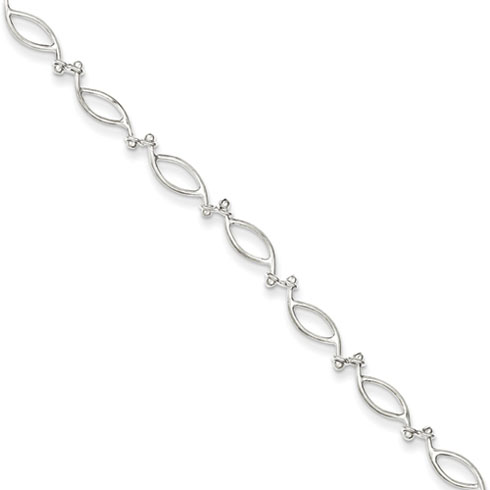 9in Fancy Polished Anklet - Sterling Silver