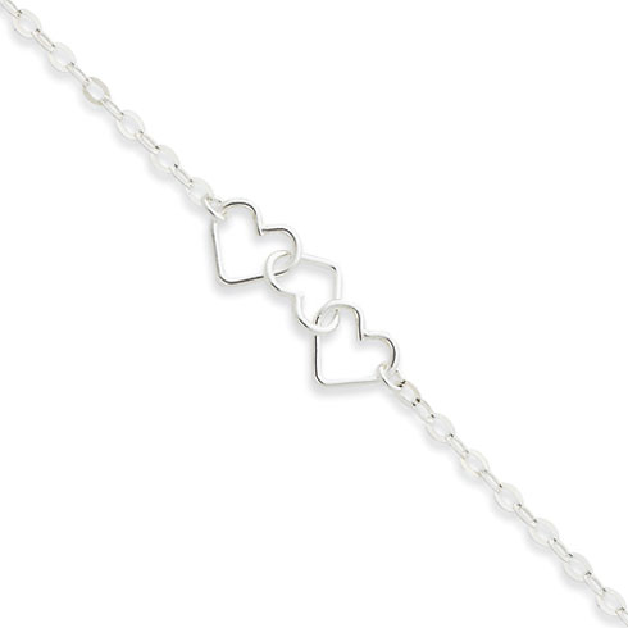 Sterling Silver 9in Fancy Heart Link Anklet